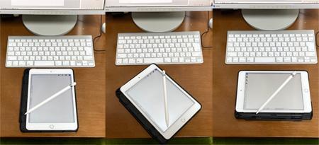 iPad miniを机の上で回転
